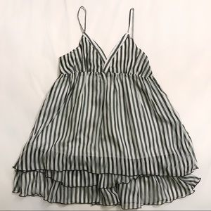 Vertical Striped Chiffon Tiered Mini Dress sz S/M